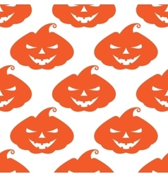 Pattern with orange pumpkins scary face on vector