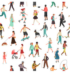 people walking seamless pattern women men vector image