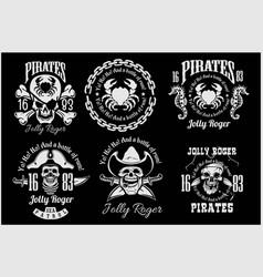 pirates design elements - set on black vector image