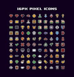 pixel art icons vector image