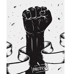 Protest background raised fist held in protest vector image