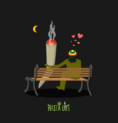 rasta life rastaman and joint or spliff look at vector image