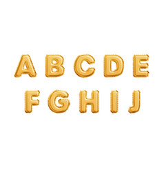 realistic golden balloons alphabet isolated on vector image