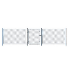 Realistic metal wire fence and gate detail vector