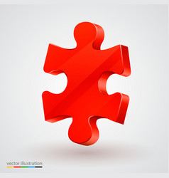 red piece of puzzle clean vector image
