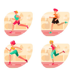 Running people set silhouettes sport vector