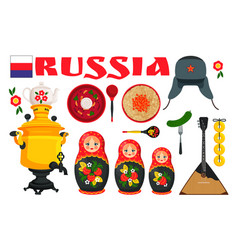 Russia set poster with items vector