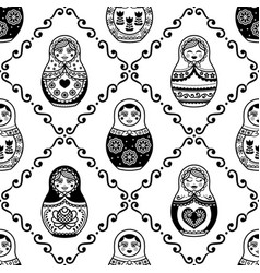 russian nesting doll seamless pattern vector image