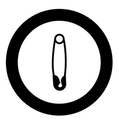 safety pin black icon in circle vector image