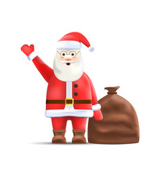 Santa claus with sack isolated on background vector