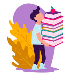 school boy carrying pile books with apple on vector image