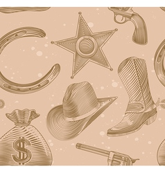 seamless cowboy pattern in engraving style vector image