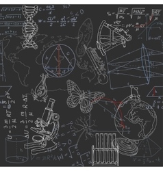 Seamless pattern of the formulas and doodles vector image