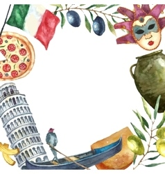 set italy icons watercolor vector image