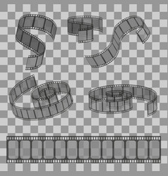 Set of filmstrip rolls group of realistic movie vector