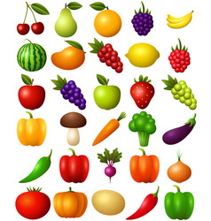 set of fruits and vegetables isolated on white bac vector image