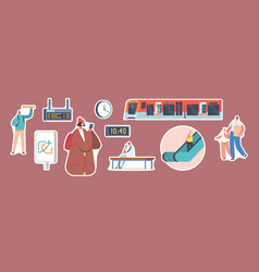 set of stickers people at subway station train vector image