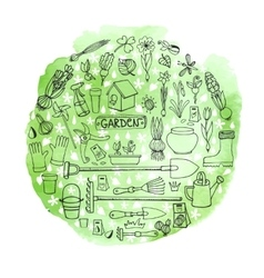 Spring garden doodles in circlewatercolor green vector