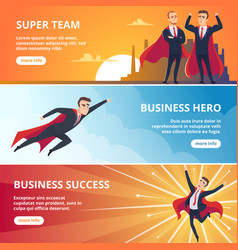 Superheroes business banners male characters vector