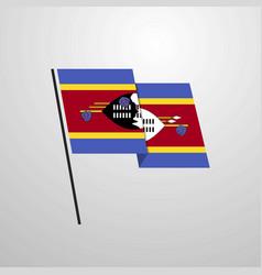 Swaziland waving flag design background vector