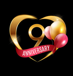 Template gold logo 9 years anniversary with ribbon vector