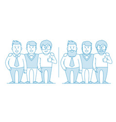 three friends or colleagues are standing together vector image