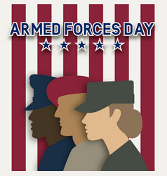 three uniformed soldiers on striped background vector image