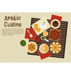 Traditional arabian and turkish cuisine vector