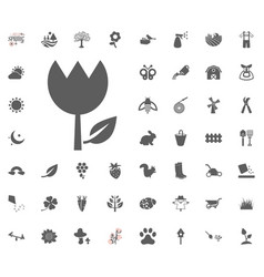 tulip icon spring icon set vector image