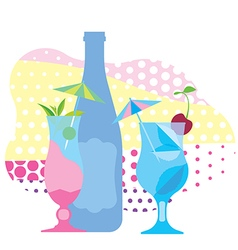 Two glasses of blue cocktail a bottle of wine vector image