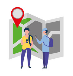 two young man using smartphone gps navigation vector image