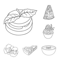 vegetarian dish outline icons in set collection vector image