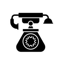 Vintage telephone black glyph icon vector