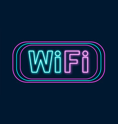 wi-fi neon sign wifi icon with lighting effect vector image