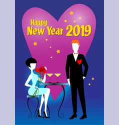 woman and man waiting new year vector image