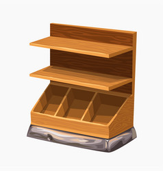 wooden empty store shelf isolated on white vector image