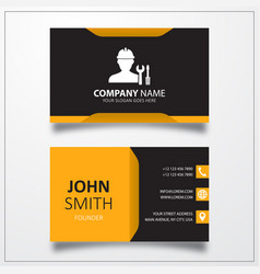 Worker with work tool icon business card template vector
