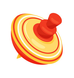 Yellow plastic whirligig toy with red stripes vector