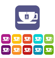 cup of tea with tea bag icons set vector image