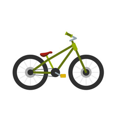 Green bike icon flat style vector