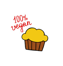 muffin doodle icon vector image vector image