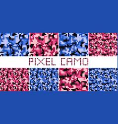 Pixel camo seamless pattern big set vector