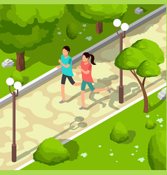 sport family running in park isometric 3d vector image vector image