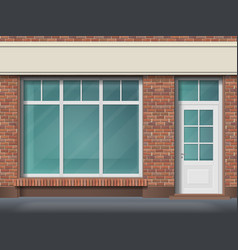 brick store front with large transparent window vector image
