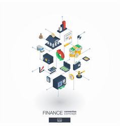 Finance integrated 3d web icons digital network vector