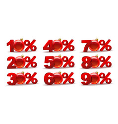 set of percent discount sale icons vector image vector image