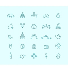 Thin line wedding icons vector image vector image
