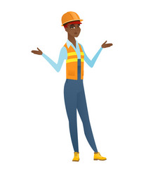 african-american confused builder with spread arms vector image vector image