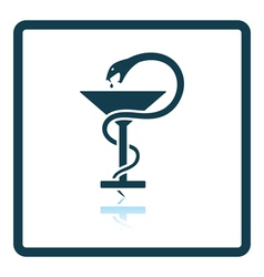 Medicine sign with snake and glass icon vector image vector image