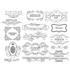 Set of hand-drawing calligraphic floral design vector image vector image